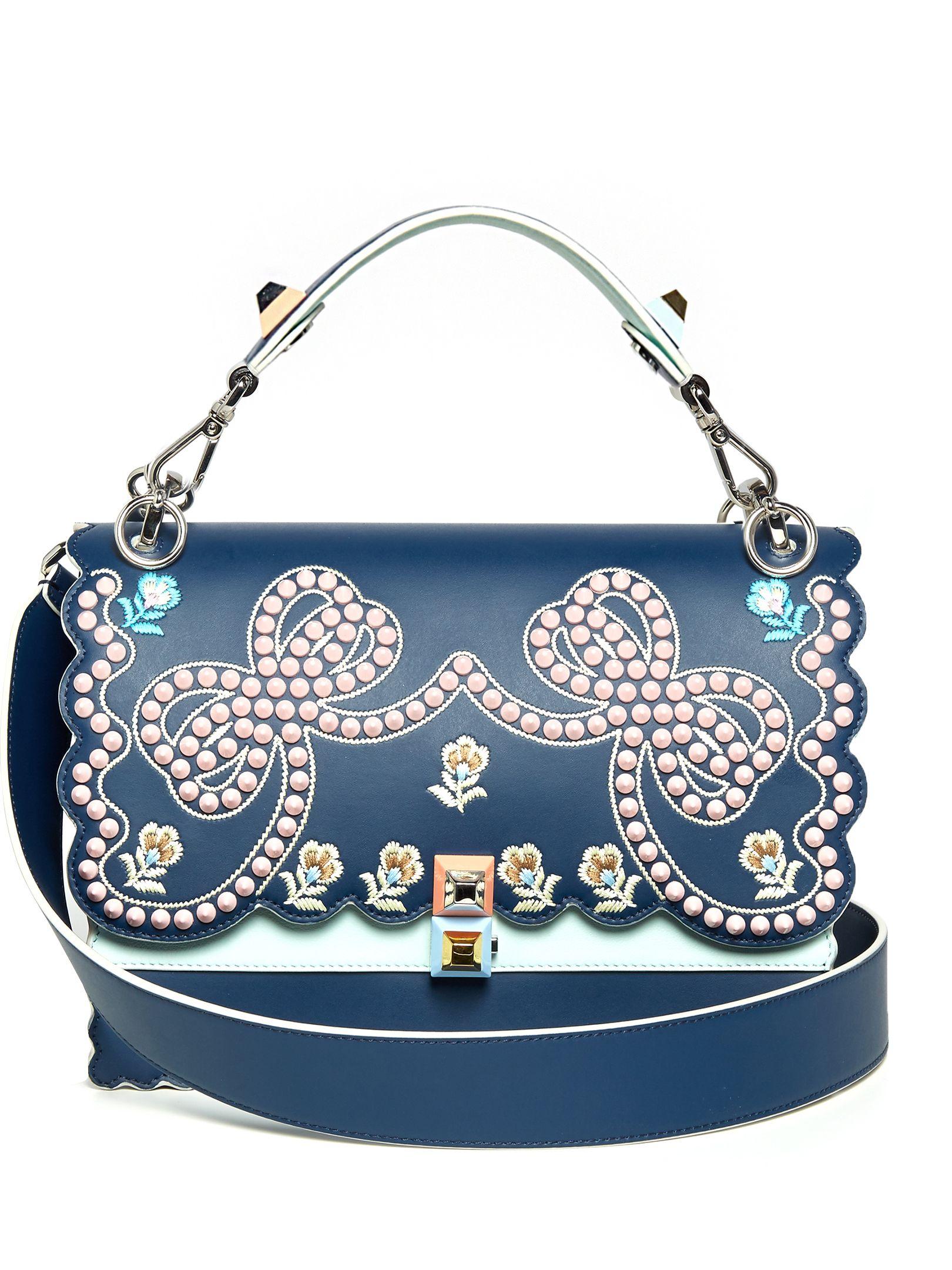 55f9135a08f Kan I embroidered leather shoulder bag   Fendi   MATCHESFASHION.COM ...