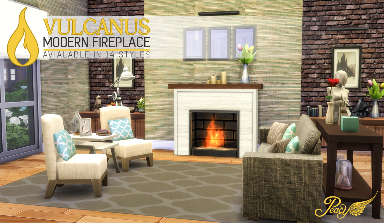 the sims 4 peace u0027s vulcanus modern fireplace base game build