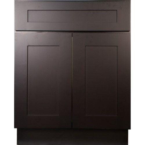 Everyday Cabinets 27 Inch Dark Espresso Shaker Base Kitchen Cabinet