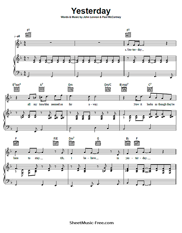 The beatles yesterday chords, sheet music notes | download pop.