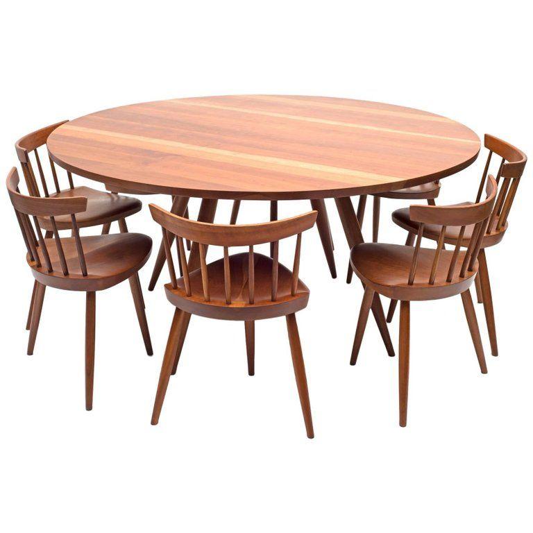 George Nakashima Round Cherry Dining Table and Nine Mira Chairs, USA, 1960s | 1stdibs.com