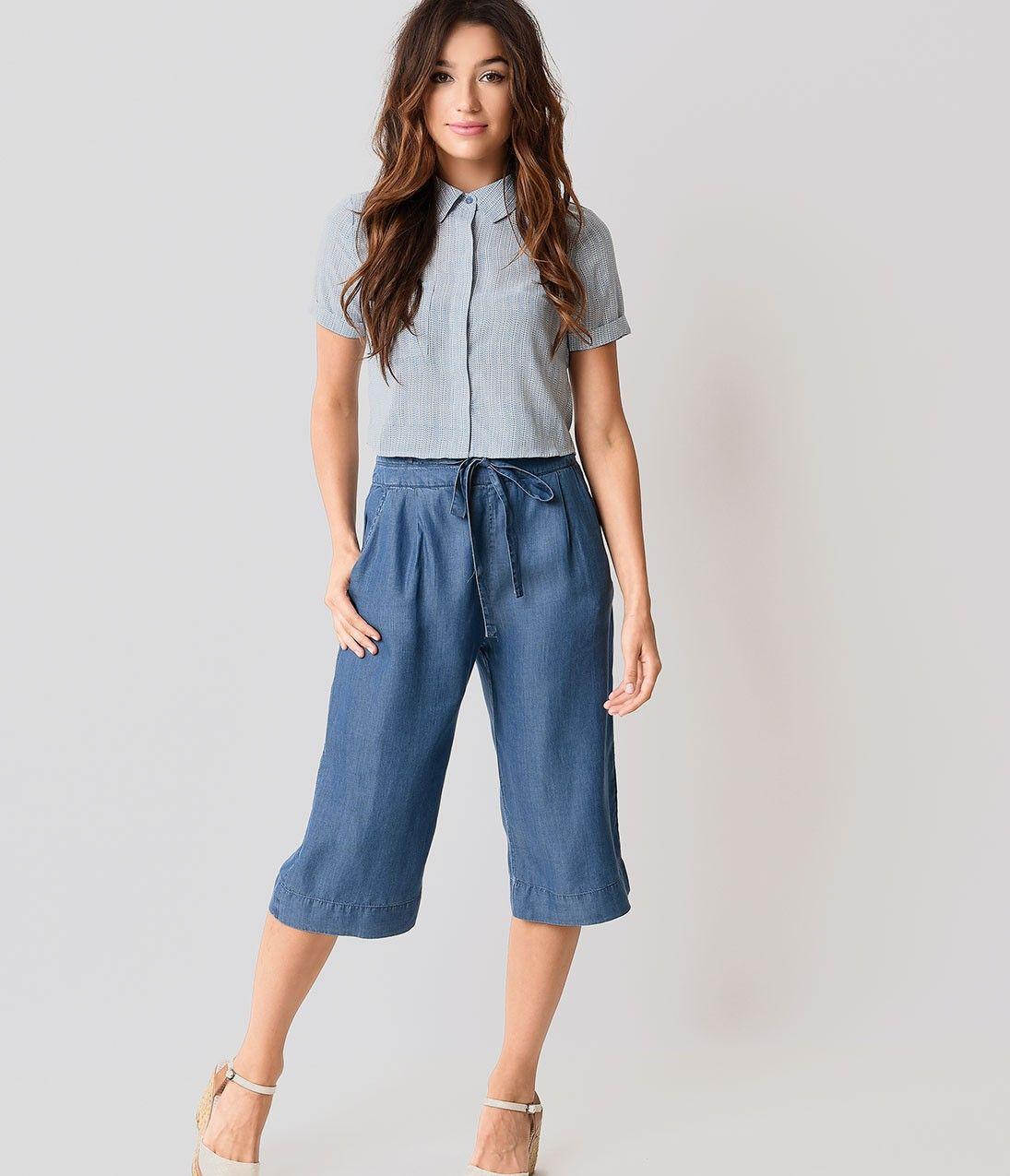 1930s Style Blue Jean High Waist Gaucho Pants | Style | Pinterest ...