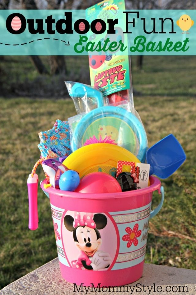 Candy free easter basket ideas easter baskets easter and basket outdoor fun easter basket the bucket i had kite balls squirt negle Images