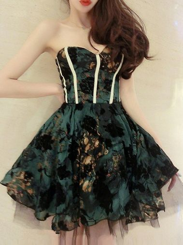 Fantastic Sexy Printing Strapless Backless Slim Ball Gown Mini Party Dress on buytrends.com