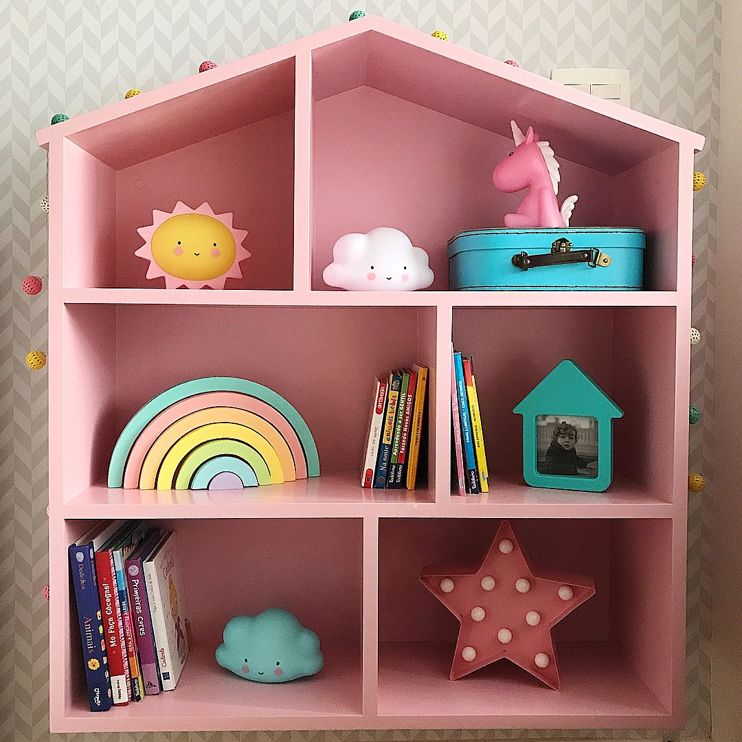 Estante De Casinha Para Quarto De Crian A Para Colocar Livros E  ~ Estante De Livros Quarto Infantil