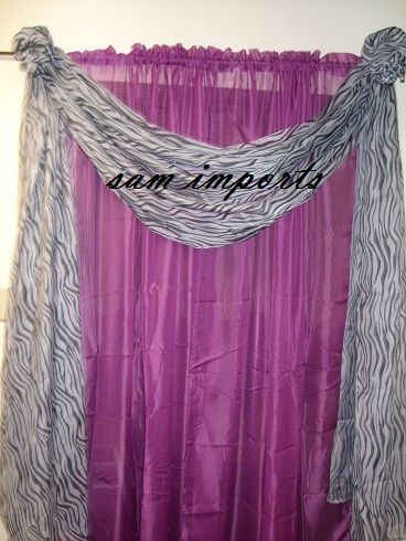 2pc Solid Sheer Voile Window Panels Curtain Or 1pc Scarf Valance