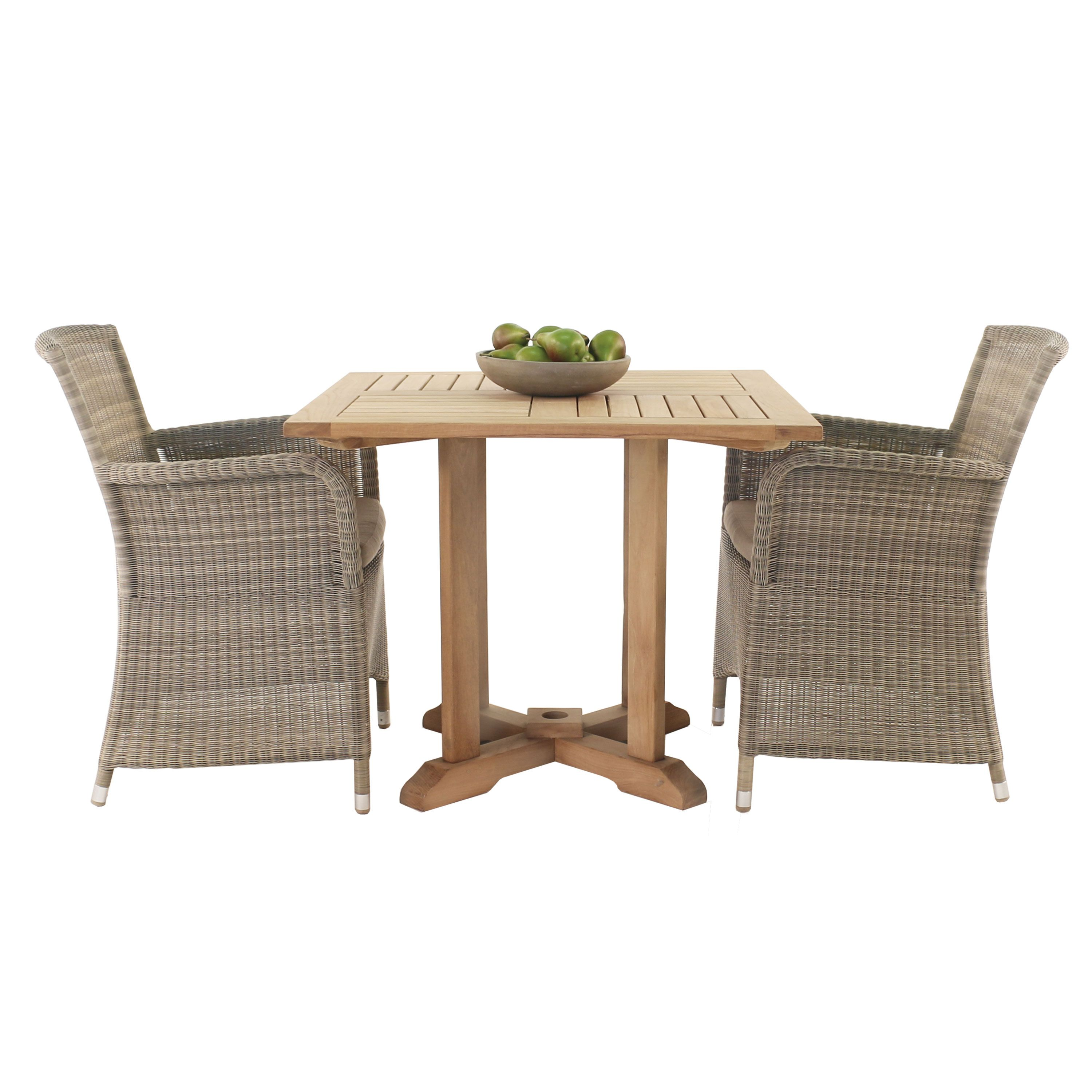 Two classics come together to create this lovely and charming outdoor dining set it features an a grade teak pedestal dining table with two gilbert dining