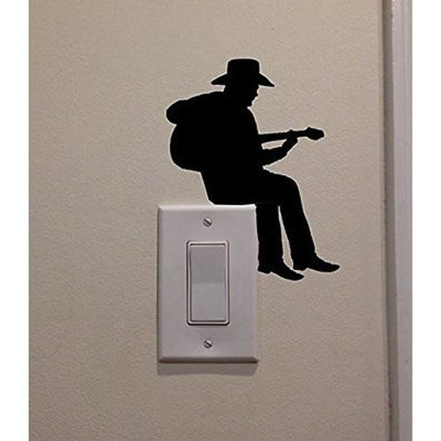 Cowboy Playing Guitar Fashion Vinyl Switch Sticker Room Home Wall Decal