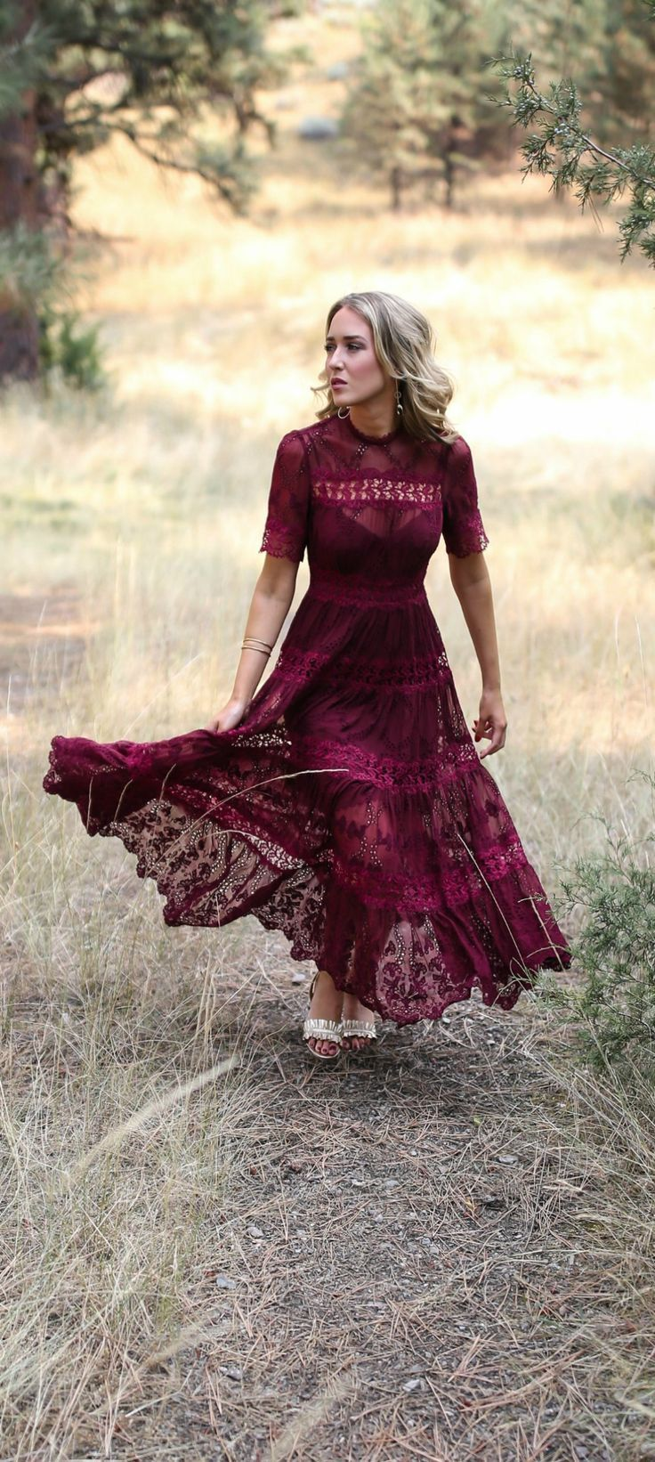 Fall wedding style rehearsal dinner in montana burgundy lace