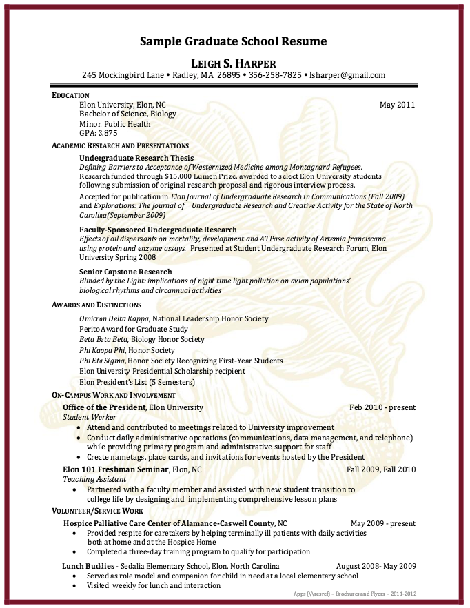 Graduate School Application Resume  HttpExampleresumecvOrg