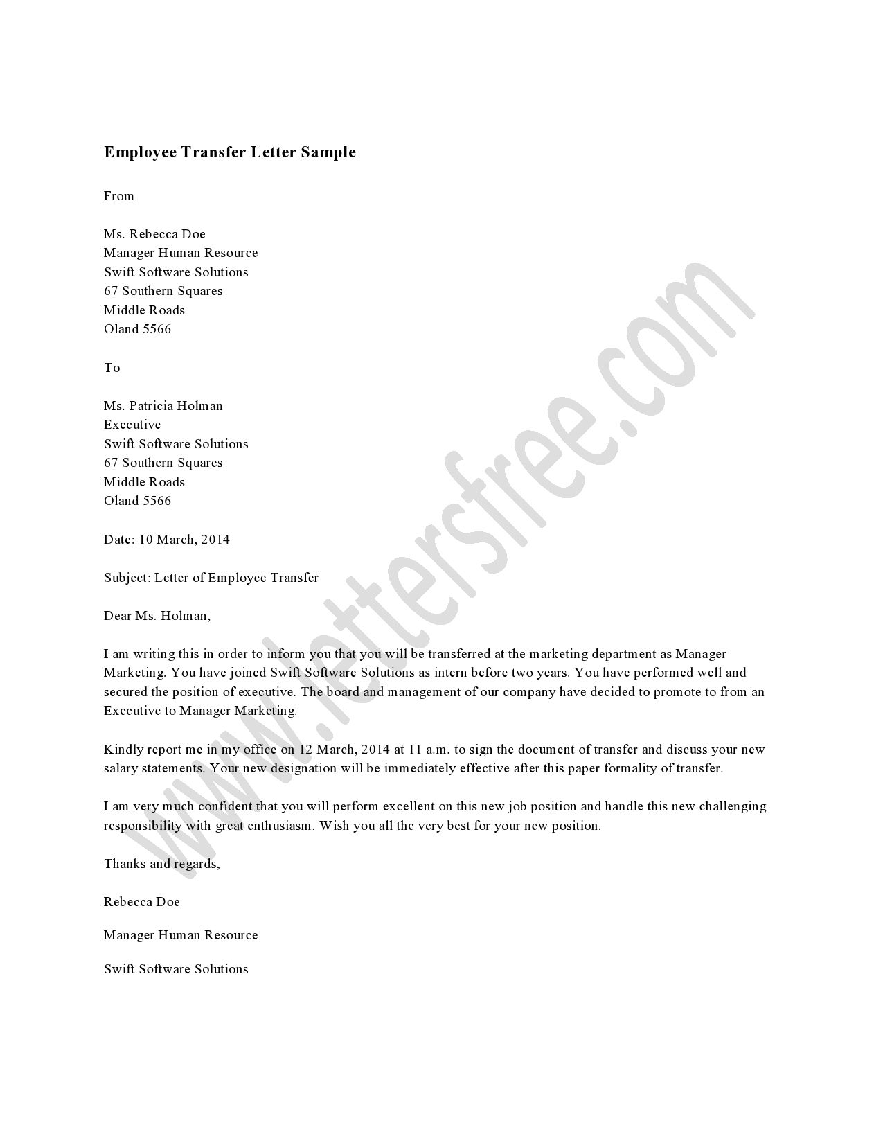 Employee Transfer Letter Is Written To Notify The Employee About