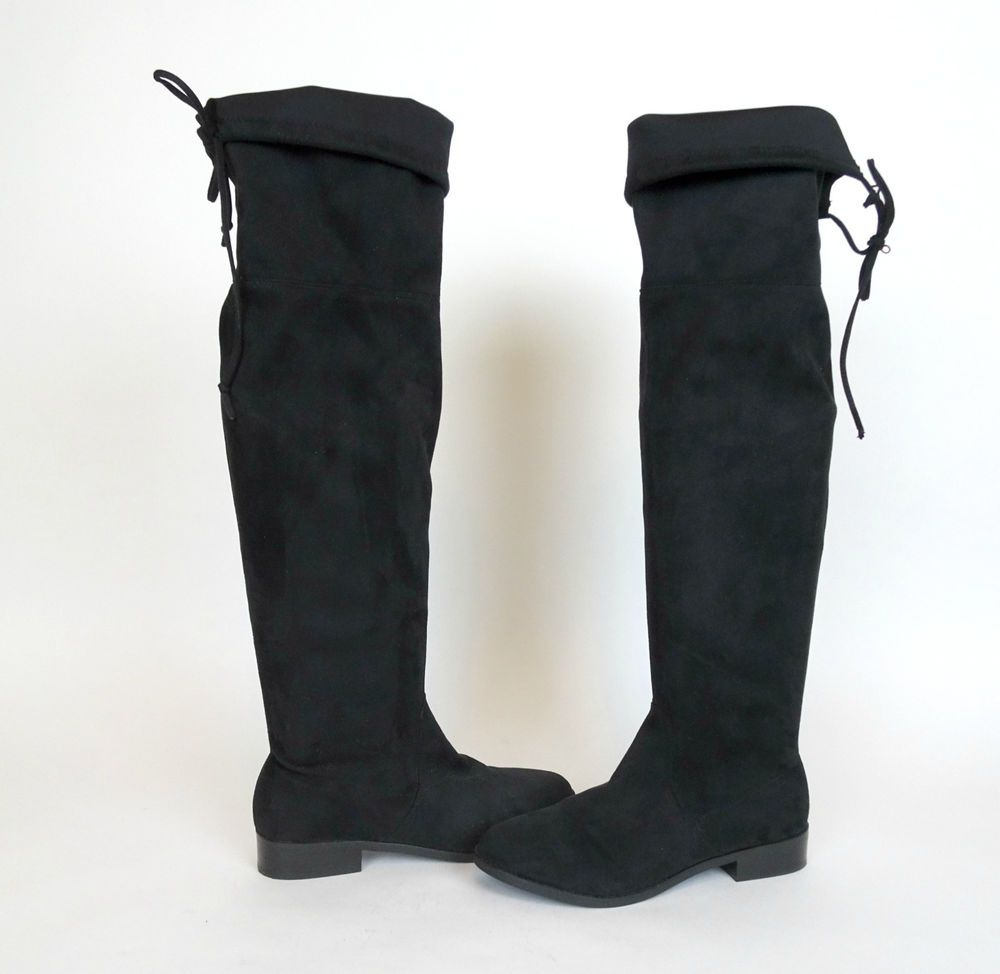 2f4c630ef28 Steve Madden Orlene Over The Knee Boots 8.5 Black Faux Suede Mod ...