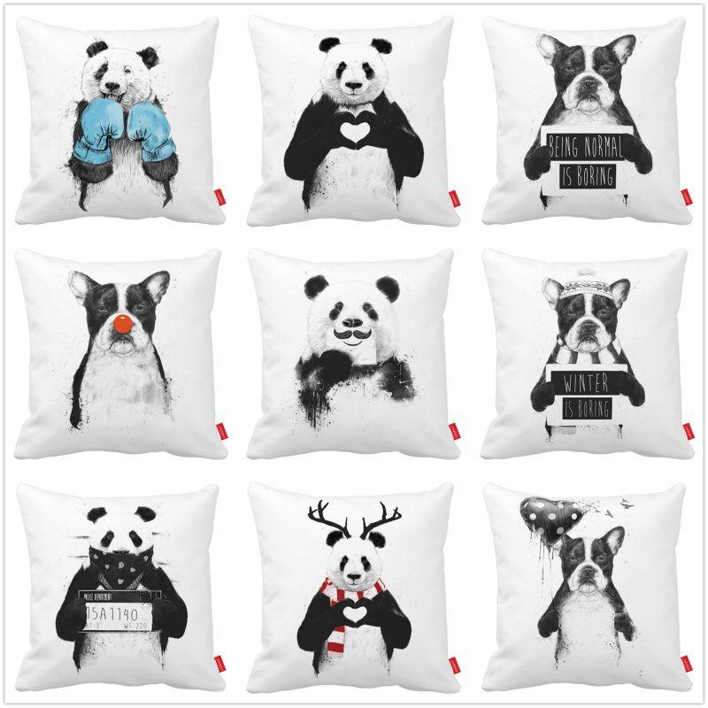 Pas Cher Noir Blanc Lit Drôle Panda Bulldog Chien Imprimé Voiture - Lit noir pas cher
