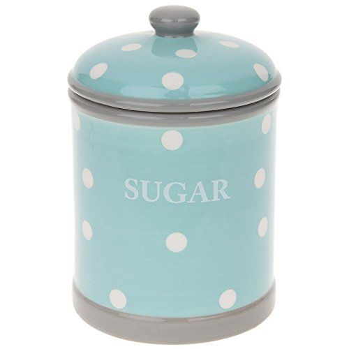 Duck Egg Blue & White Polka Dots Ceramic SUGAR CANISTER