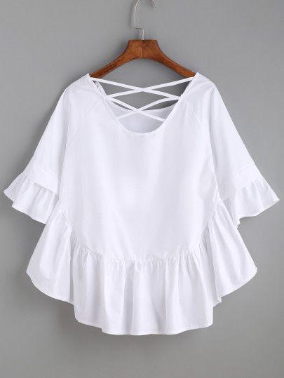 24f0def40c White Crisscross Back Ruffle Top -SheIn(Sheinside) | Clothes ...