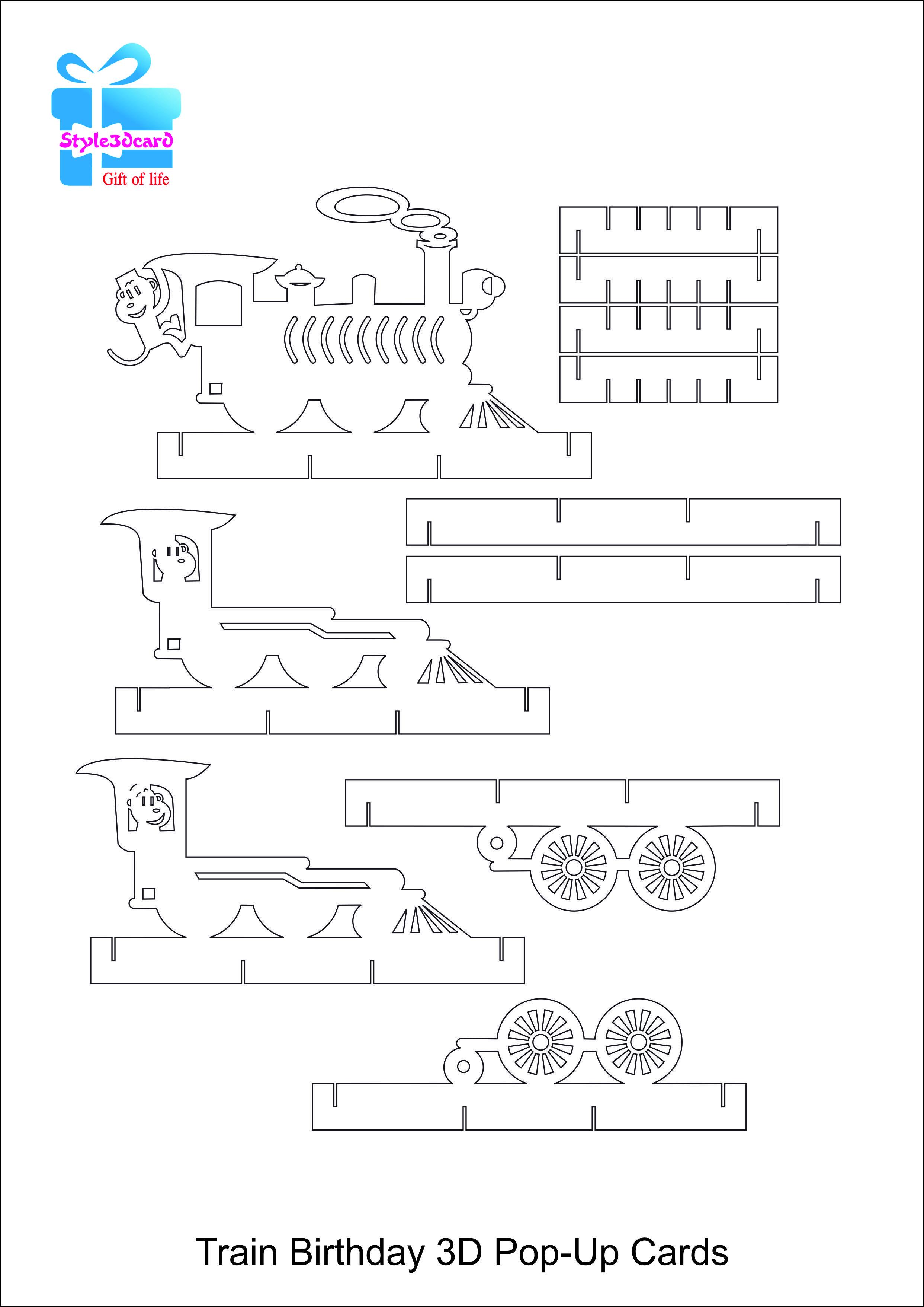 Train Pop Up Birthday Card Kirigami Pattern 2