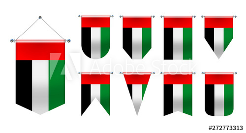 Set Of Hanging Flags Of The United Arab Emirates Diversity Shapes Of The National Flag Country Vertical Template Pen Hanging Flags National Flag Flag Country