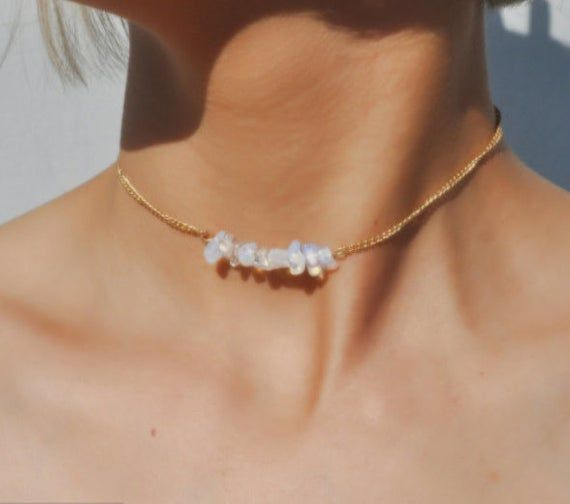Clear Quartz Necklace,clear quartz choker,clear quartz quartz necklace, clear gemstone necklace, clear crystal; Boho Hippie Necklac