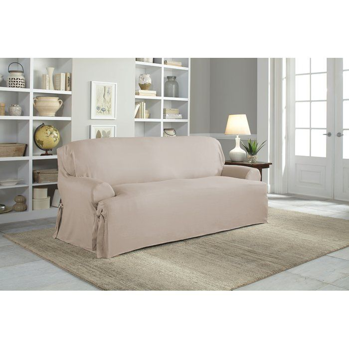 Cotton Duck T Cushion Sofa Slipcover Furniture