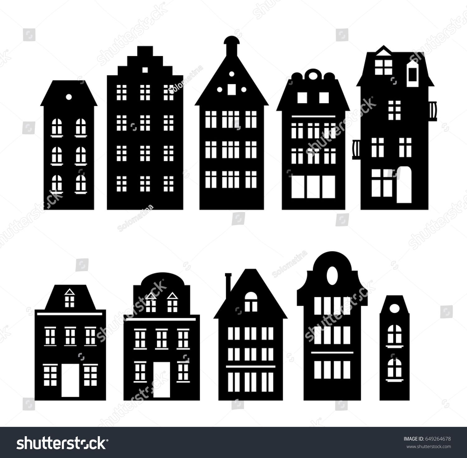 Set of laser cutting Amsterdam style houses Silhouette of a row of