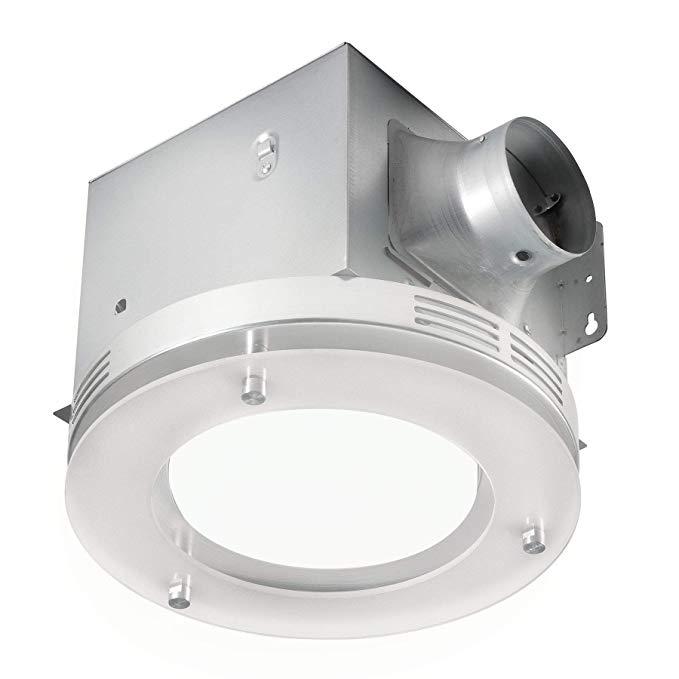 Bathroom Shower Decorative Nickel 70 CFM Ceiling Exhaust Fan Frosted Light Kit