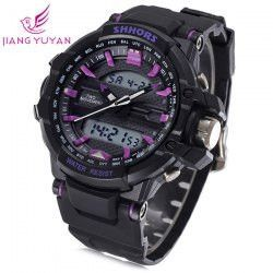 Shhors 788 Jiangyuyan Military LED Watch Dual Movt Water Resistant Day and Date Sports Wristwatch