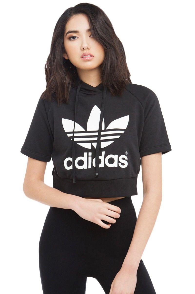 Adidas Graphic Short Sleeved Cropped Top Hoodie Sweatshirt In Black Cropped Hoodie Fashion Logo Adidas Originals Women [ 1209 x 800 Pixel ]