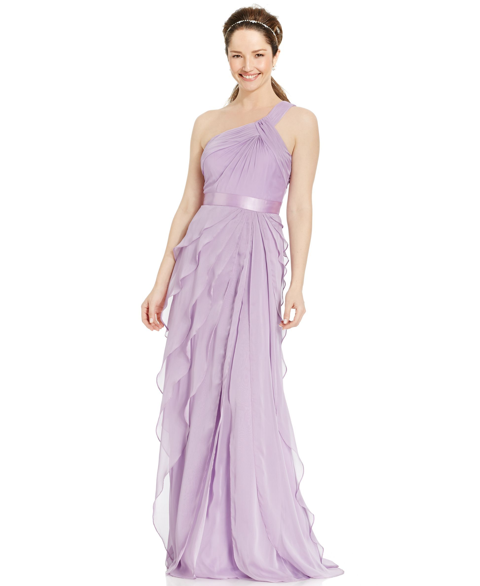 Adrianna Papell One-Shoulder Tiered Chiffon Gown | Chiffon gown ...