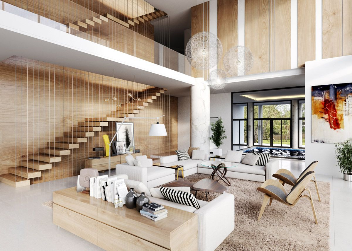 30 double height living rooms that add an air of luxury - Interior design ceiling living room ...