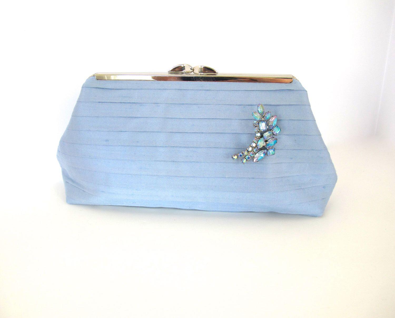 Blue Silk Clutch Light Blue Cornflower Blue Blue Evening Bag