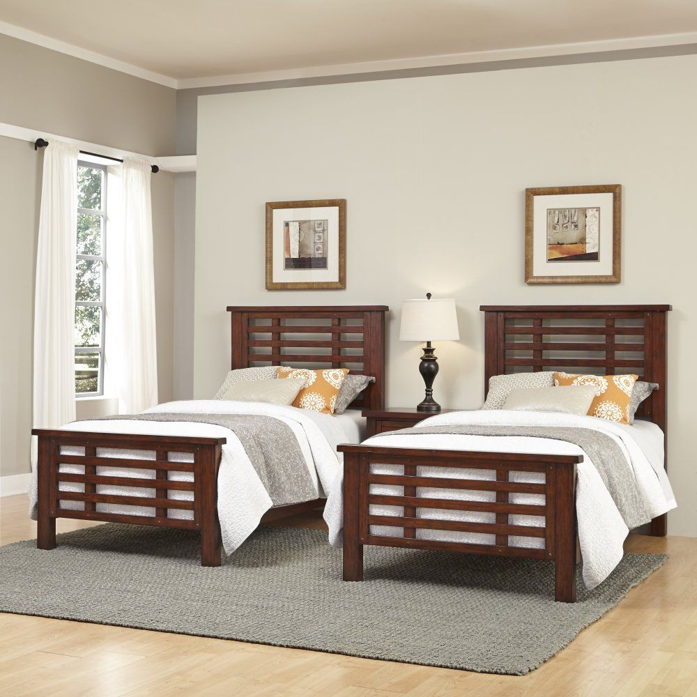 Cabin Creek Two Twin Beds and Nightstand are a perfect set
