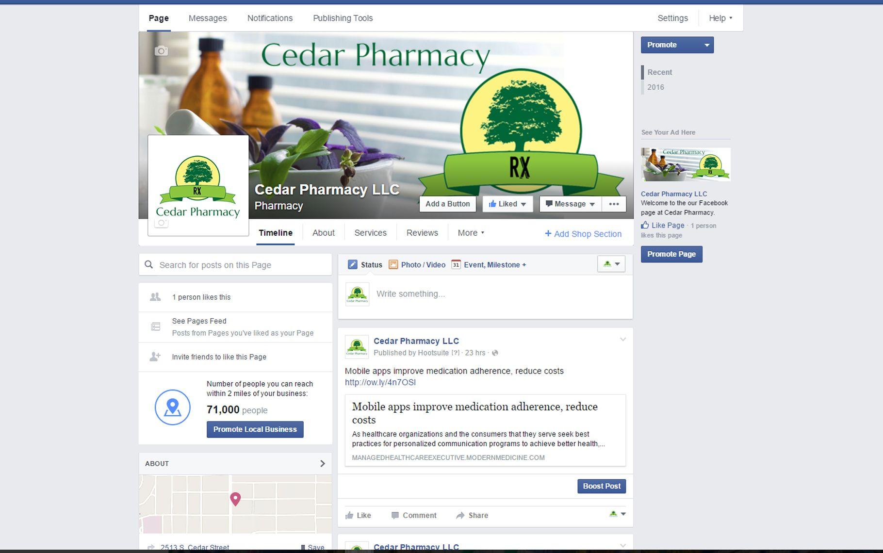 Facebook page for Cedar Pharmacy with bi-weekly postings.