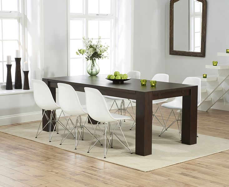 madrid 200cm dark solid oak extending dining table with charles eames style dsr eiffel chairs - Dark Oak Dining Table