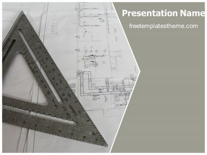 download #free #architecture #blue #print #powerpoint #template, Presentation templates