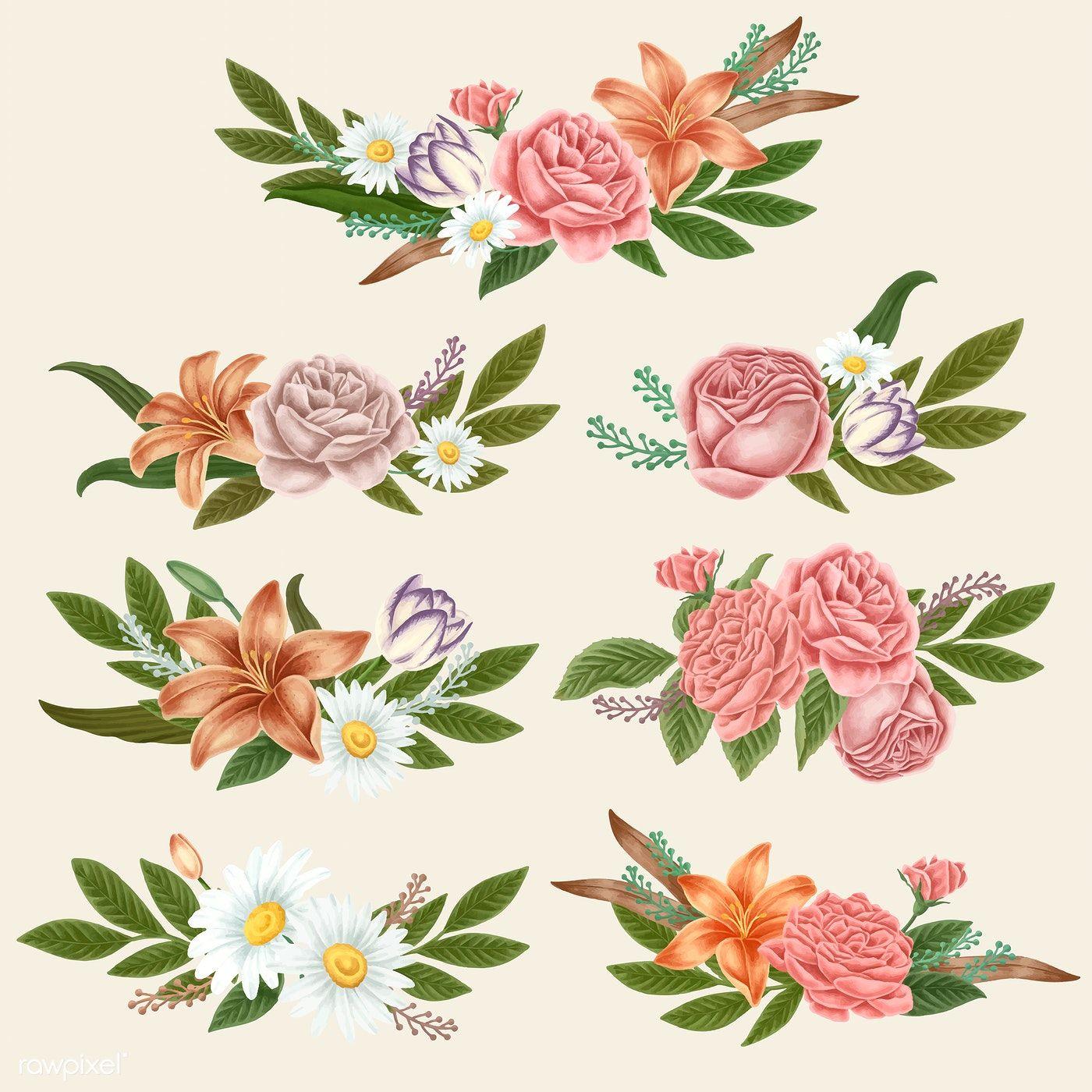 Download Premium Vector Of Vintage Flower Bouquets Vector 2100678 In 2020 Vintage Flowers Summer Flower Bouquet Flowers Bouquet