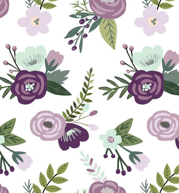 Fairy Tale Floral Plum Lavender and Mint by ByGeorgeBabyBoutique