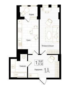 ЖК New York Concept House: планировка 1-комнатной квартиры 57.43 м2, тип 1А