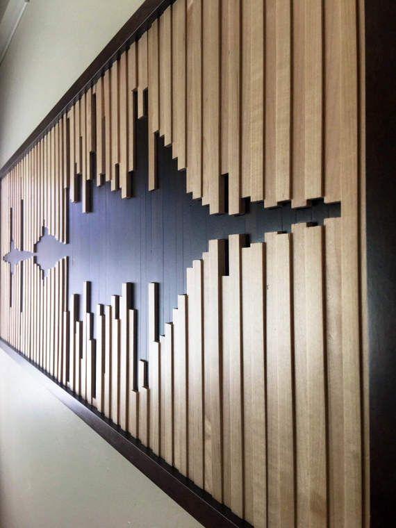 Abstract sound wave wood wall art wooden decor sculpture also rh pinterest