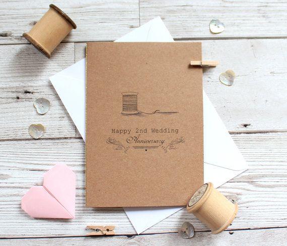 Second Anniversary Card Cotton 2nd Wedding By Misssdesigns