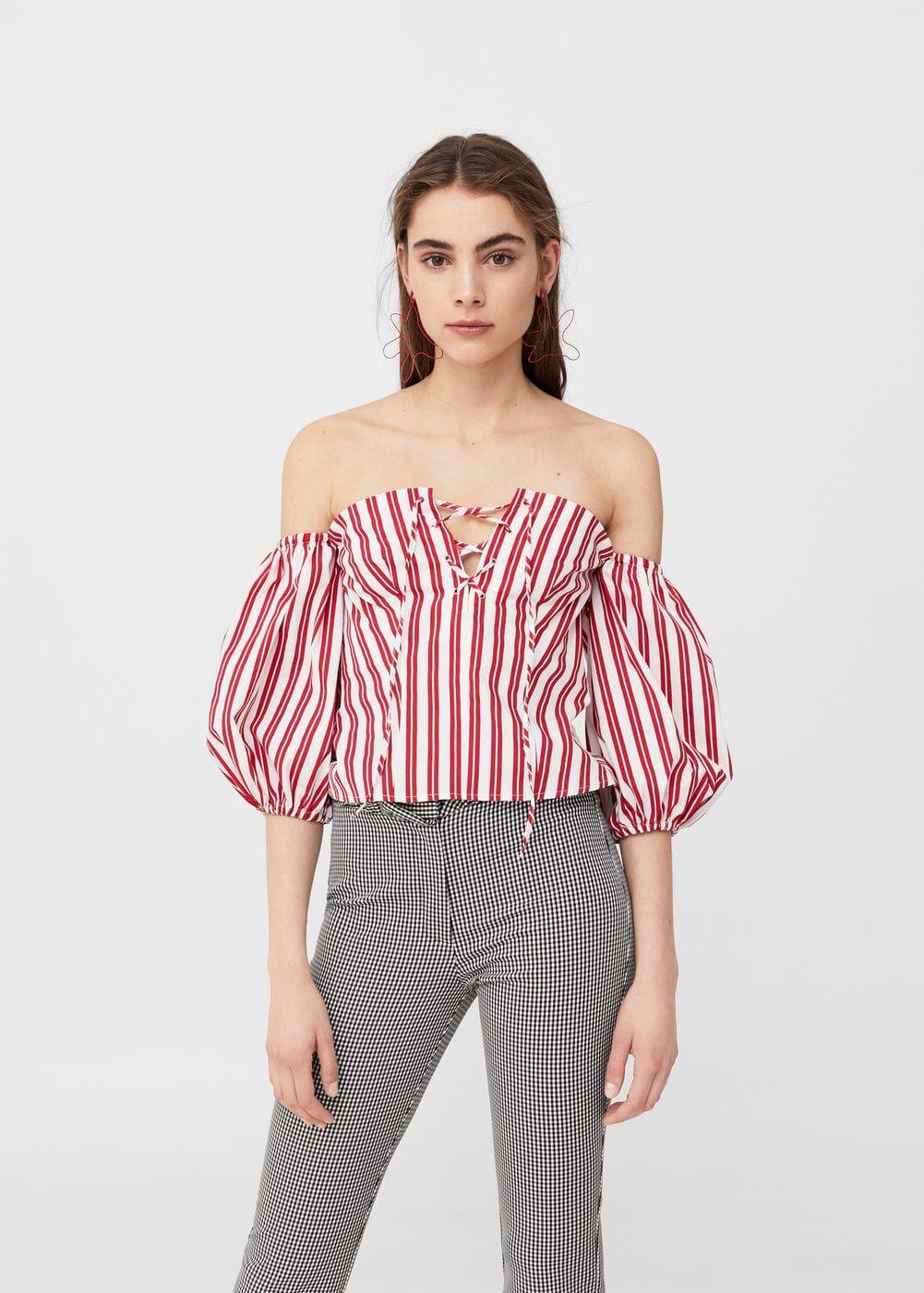 610fb76524dac Striped off-shoulder top - Women