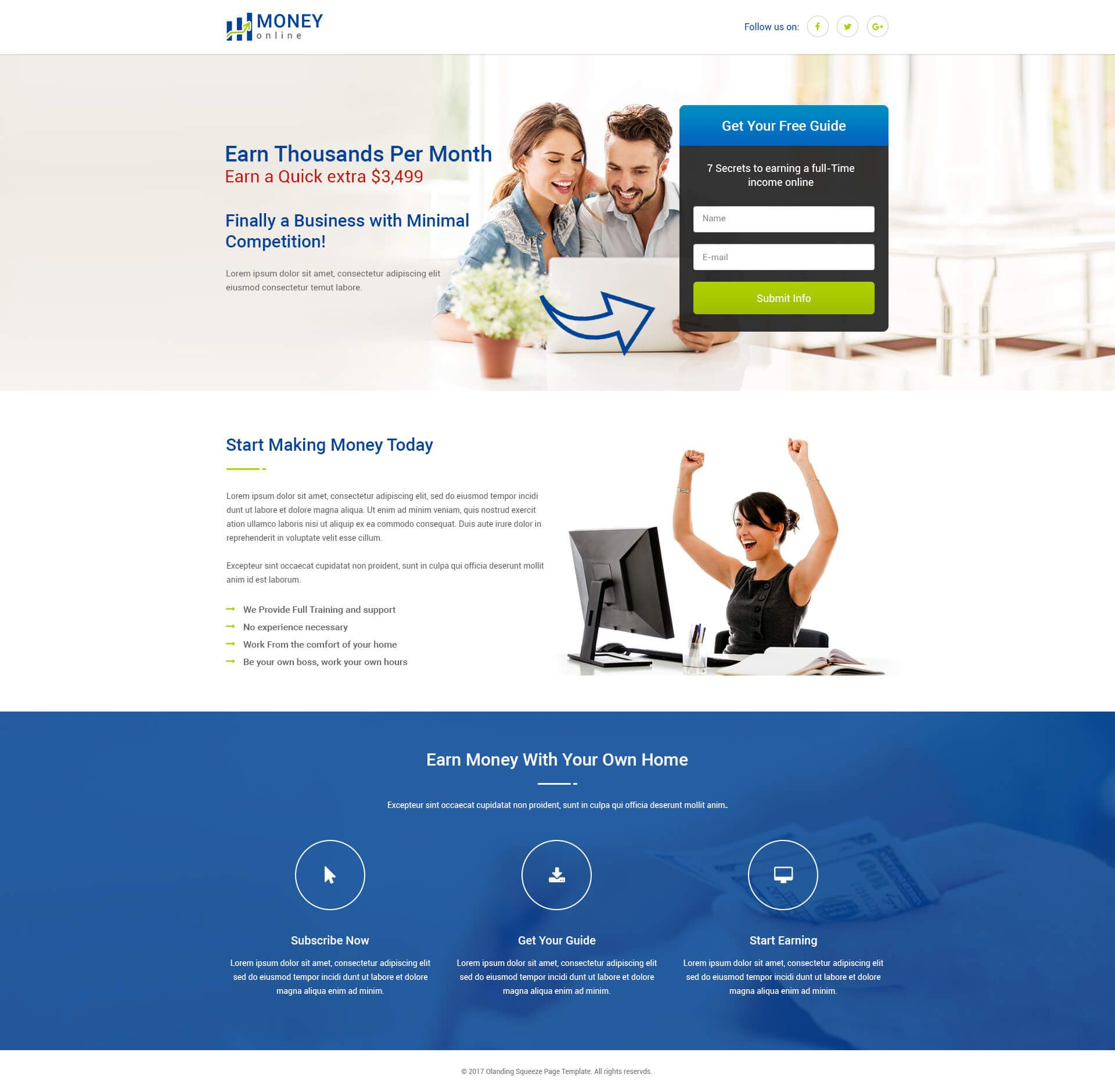 Lead Gen Money line Squeeze Page Template With Free Landing Page