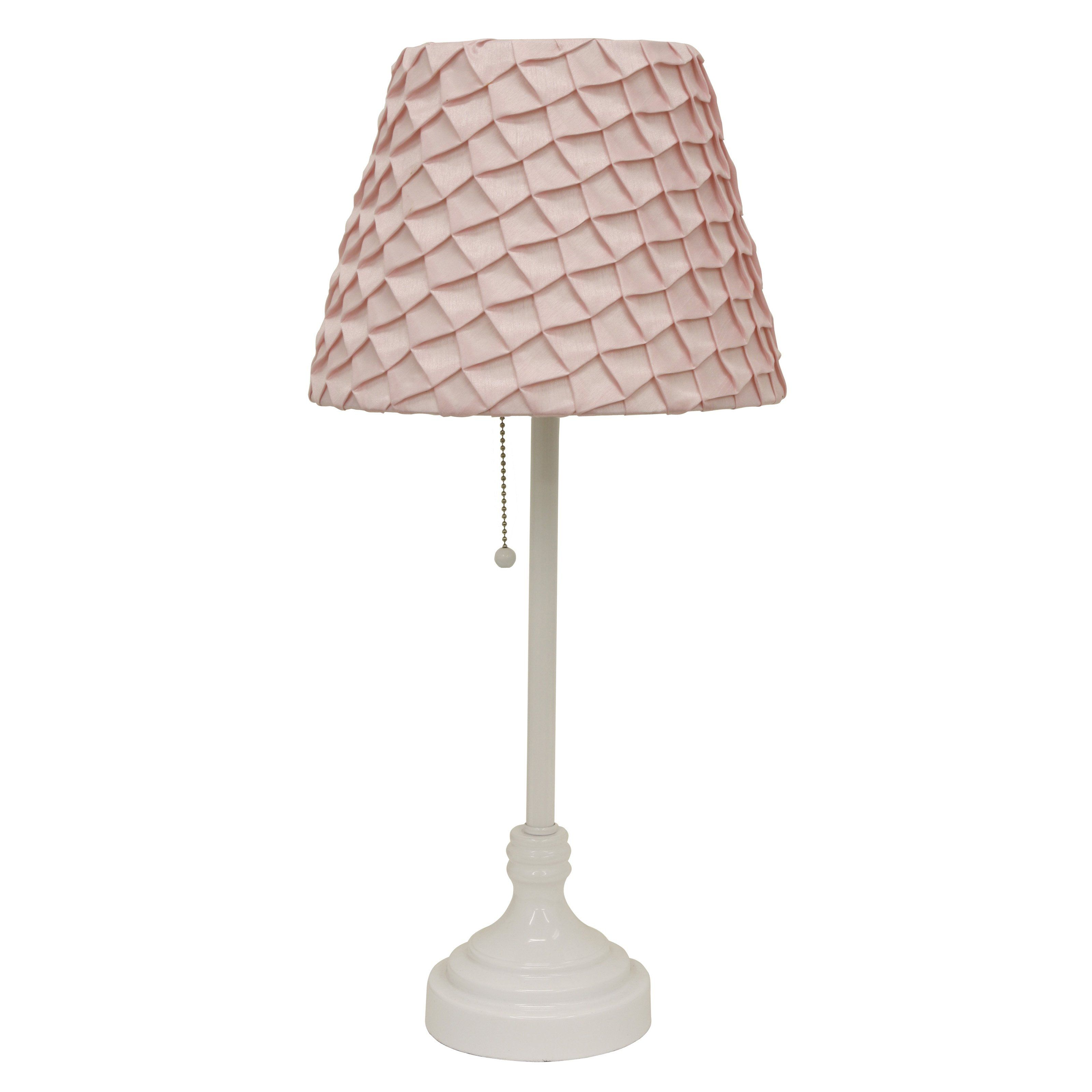 Better Homes and Gardens White Table Lamp with Pink Pleated Shade ...
