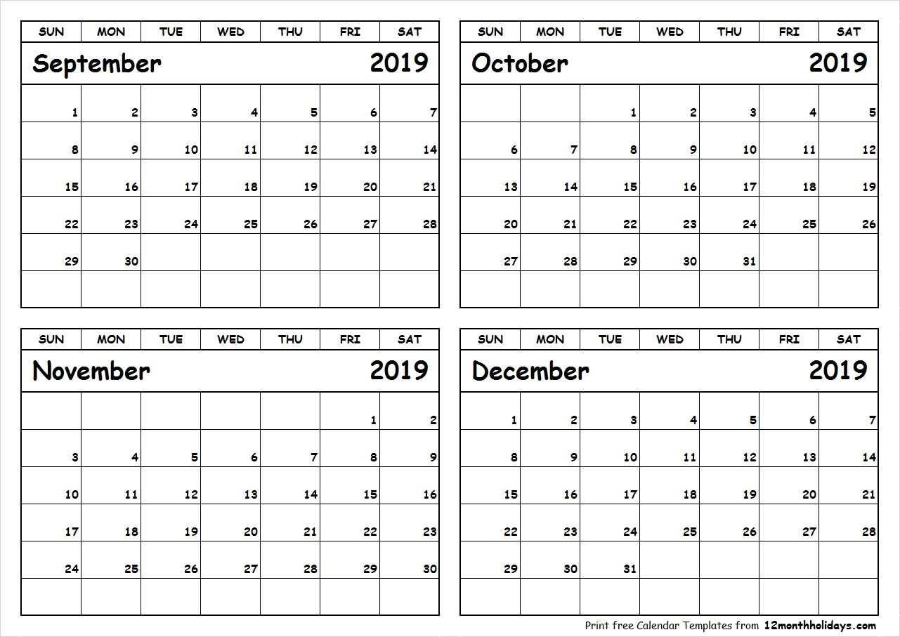 Print September To December 2019 Calendar Template 4 Month Calendar Pertaining To September December August Calendar September Calendar Calendar Printables