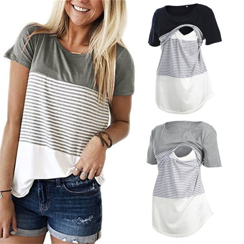 87ab61580d1cf Women Pregnancy Clothes Maternity Clothing Breastfeeding Tee Nursing Tops  Stripe