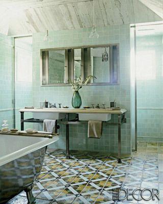 moroccan inspired tiled bathroom in muted tones - Bathroom Ideas Elle Decor