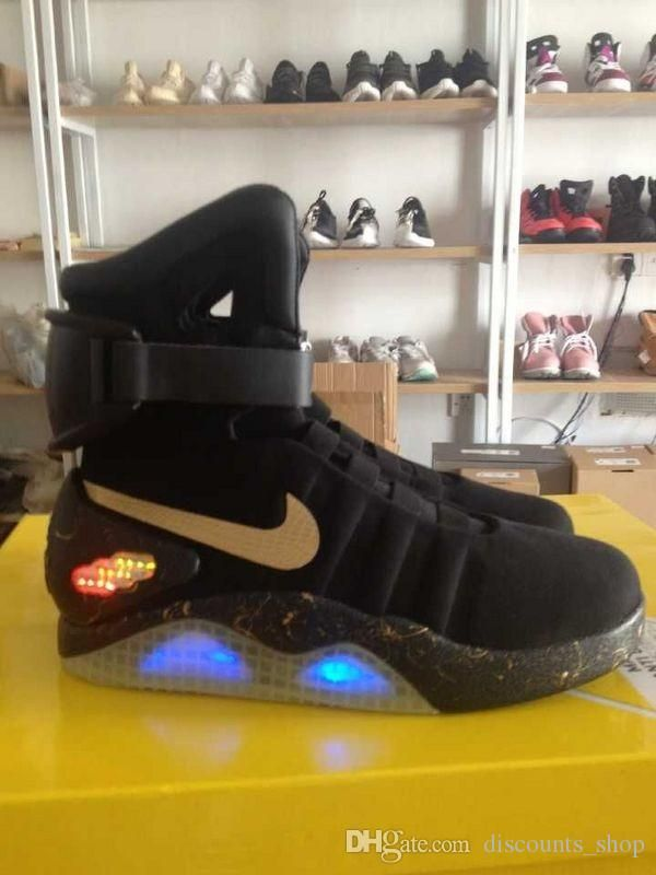 Online Cheap Nike Mag Glow In The Dark Gray And Black Back To The Future  Mags Limited Edition Shoes Nike Air Mag Shoes Led Mens Nike Mag Basketball  Shoes By ... cca0e9b37