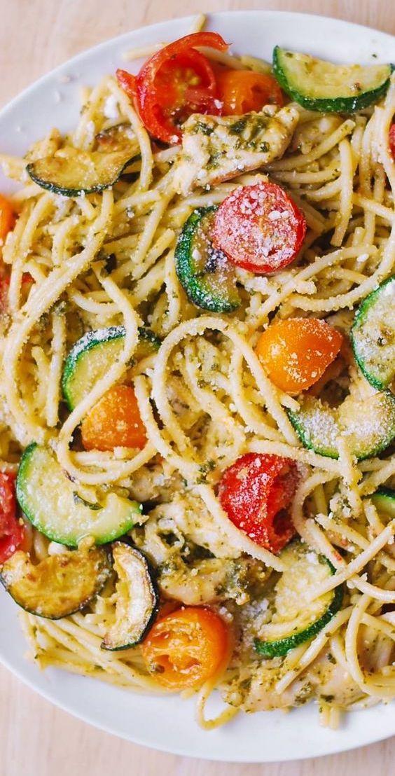 Photo of Parmesan Zucchini Tomato Chicken Spaghetti