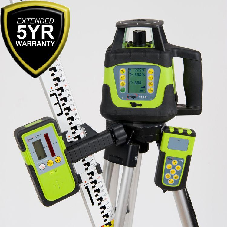 Imex 99DG Dual Grade Laser Level With Tripod & Staff http