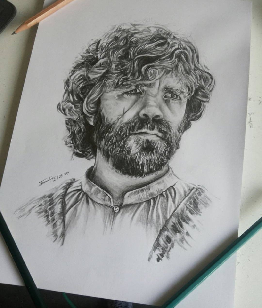 tyrion lannister drawing portrait with pencils game of