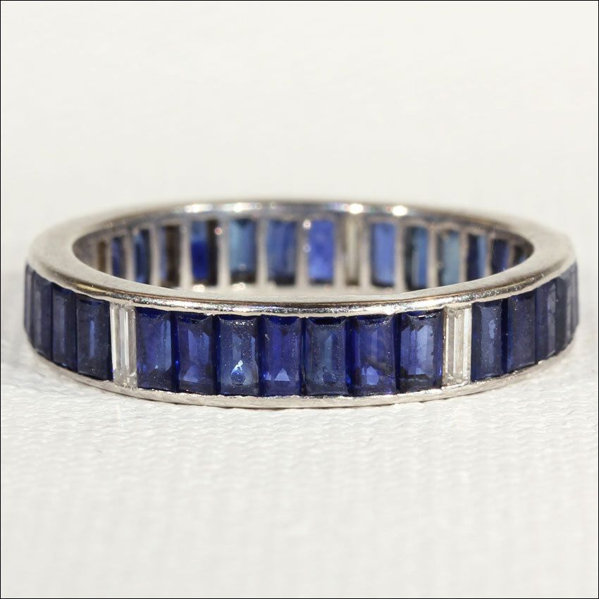Art Deco Sapphire and Diamond Eternity Band, Size 7.75 in Platinum by VictoriaSterling on Etsy https://www.etsy.com/listing/205528372/art-deco-sapphire-and-diamond-eternity